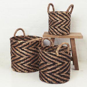 Indigo Chevron Waterhyacinth Basket with Seagrass Pattern l Pre Order