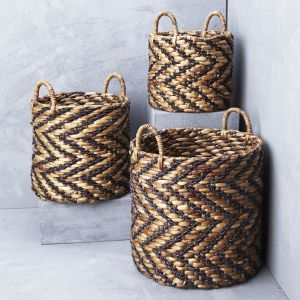Indigo Chevron Waterhyacinth Basket with Seagrass Pattern l Pre Order
