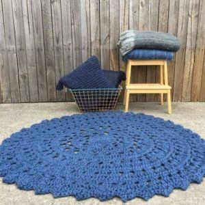 Indigo Jute Crochet Floor Rug
