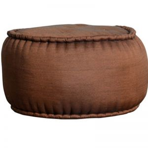 Indonesian Ikat Cotton Pouf | Brown