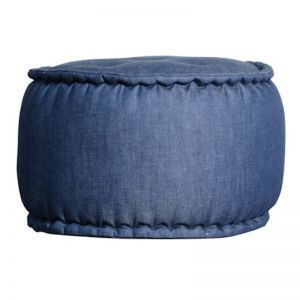 Indonesian Ikat Cotton Pouf | Denim