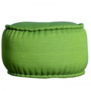 Indonesian Ikat Cotton Pouf | Green