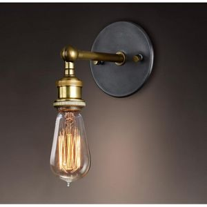 Industrial Brass Bare Edison Bulb Wall Light