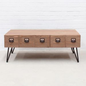 Industrial Coffee Table with Pigeon Hole Drawers