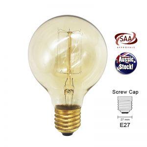 Industrial Retro Antique Edison Filament Light Bulb | Globe E27 | 40W G80 | Shape E