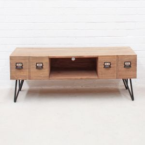 Industrial TV Unit with 2 Drawers