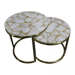 Infinity White Quartz and Gold Leaf Nesting Table Set with Gold  Metal Frame