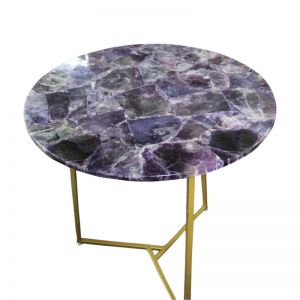 Iolanthe Purple Flourite Coffee Table with Gold Frame