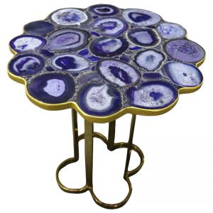 Iris Purple Agate Accent Table with Gold Metal Base