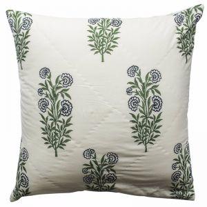 Iris Quilted Eurosham | Hand Block Printed | Cushion Cover