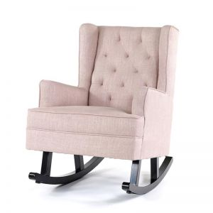 Isla Wingback Rocking Chair | Dusty Pink with Black Legs