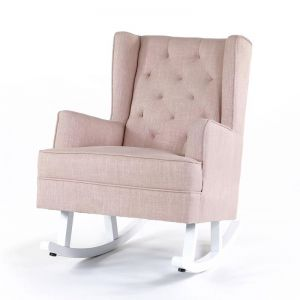 Isla Wingback Rocking Chair | Dusty Pink with White Legs