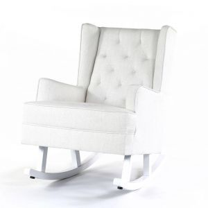Isla Wingback Rocking Chair | Linen White with White Legs