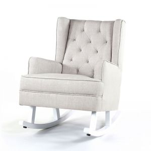 Isla Wingback Rocking Chair | Taupe with White Legs