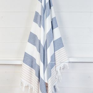 Izmir Denim/Sand | Turkish Towel