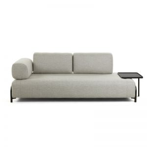 Jada Beige 3 Seaters Sofa with Tray