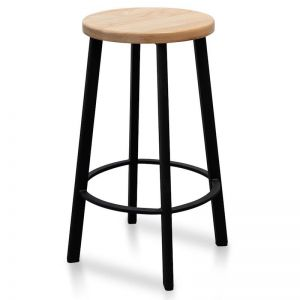 James Natural Timber Seat Bar Stool | Black Frame | 65cm