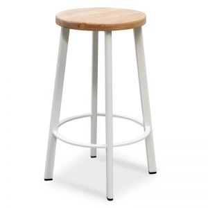 James Natural Timber Seat Bar Stool | White Frame | 65cm