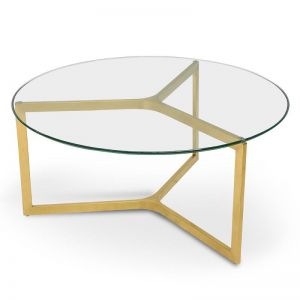 Janet Glass Round Coffee Table | Gold Base
