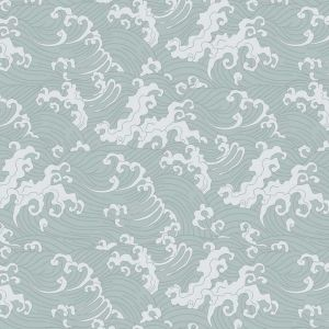Japanese Wave Wallpaper - Pale Blue