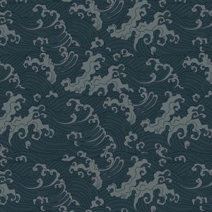Japanese Wave Wallpaper - Teal