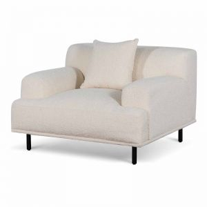 Jasleen Fabric Armchair | Ivory White Boucle with Black Legs