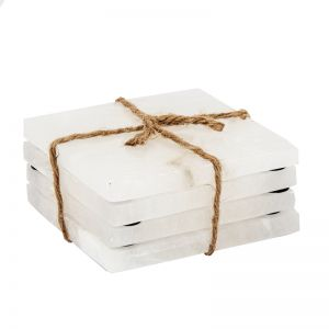 Jasmine Marble Coasters | Set of 4 | White