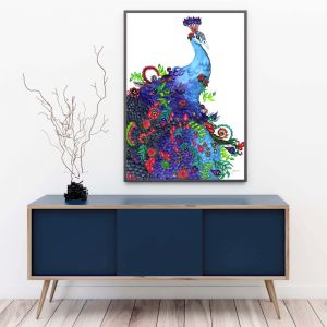 Jazzy the Colourful Peacock Bird Art Print by Pick a Pear   Unframed