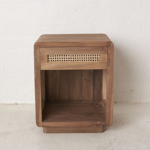 Jemina Teak and Rattan Bedside Table l Custom Made