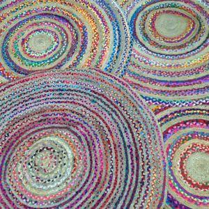 Jute & Chindi Round Rug | 150 cm D | Bohemio Furniture