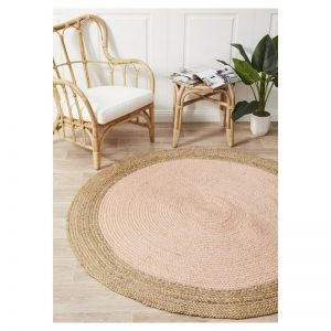 Jute Natural Circle Rug   Pink - PREORDER NOW FOR END OF SEPTEMBER 2020