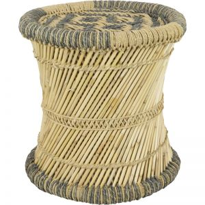 Kabul Cane & Jute Woven Stool | Black & Natural | Schots