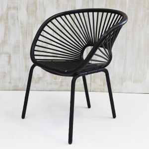 Kade Angular Rattan Armchair in Black l Custom Made