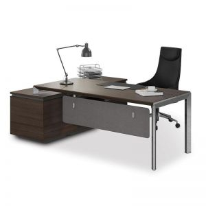 Kaden Executive Office Desk + Reversible Return | Coffee + Charcoal | Modern Furniture
