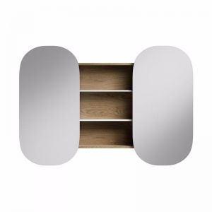 Kado Lussi Double Mirror Cabinet with Open Shelves Timber Finish | Reece