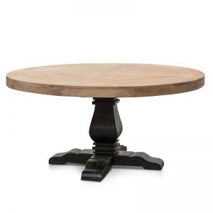 Kara Reclaimed Round Dining Table | 1.6m | Natural Top with Black Base