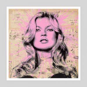 Kate Moss Newsprint | Unframed Art Print