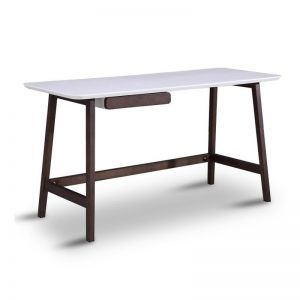 Katon Computer Desk | 140cm |  Matt White + Black | Modern Furniture