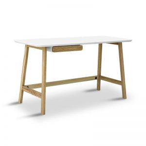 Katon Computer Desk | 140cm |  Matt White + Natural | Modern Furniture