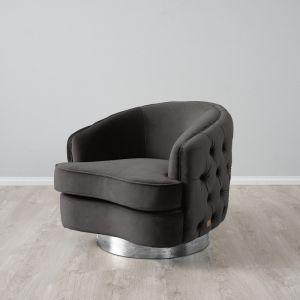 Kelly Swivel Chair | Velvet | Charcoal with Silver Leg