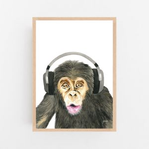 Kelvin the Music Monkey by Pick a Pear | Framed Wall Art