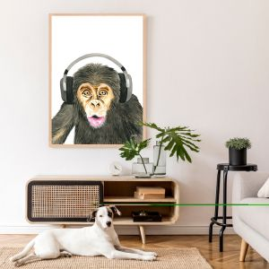 Kelvin the Music Monkey by Pick a Pear | Framed Wall Art