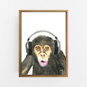 Kelvin the Music Monkey Wall Art Print | by Pick a Pear | Canvas