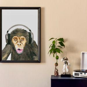 Kelvin the Music Monkey Wall Art Print   by Pick a Pear   Unframed