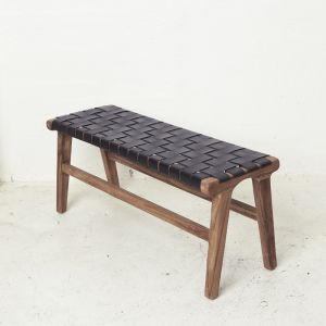 Kemi Black Leather Bench l Pre Order