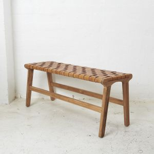 Kemi Brown Leather Bench l Custom Made