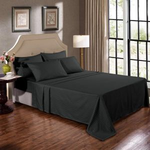 Kensington 1200TC Cotton Sheet Set In Stripe | Graphite
