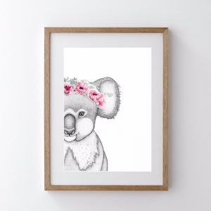 Kerry the Koala with Poppy Crown | Art Print