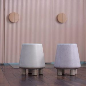 Kevin Concrete Stool by Nood Co | Mid Tone Grey