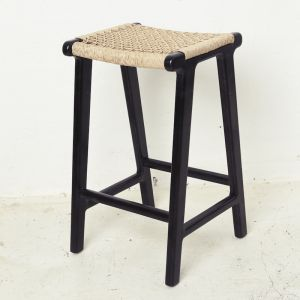 Khairi Woven Outdoor Barstool - Black l Custom Made